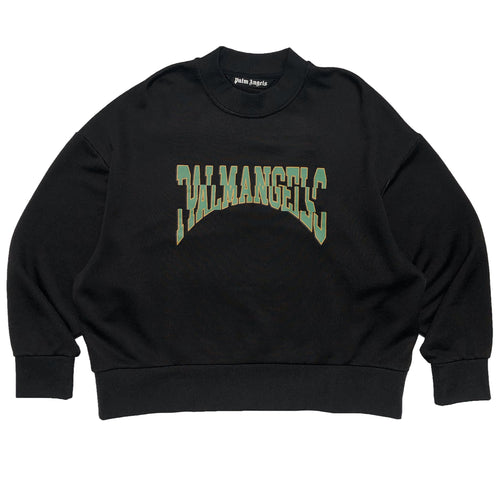 【Palm Angels】BROKEN LOGO CREWBLACK YELLOW