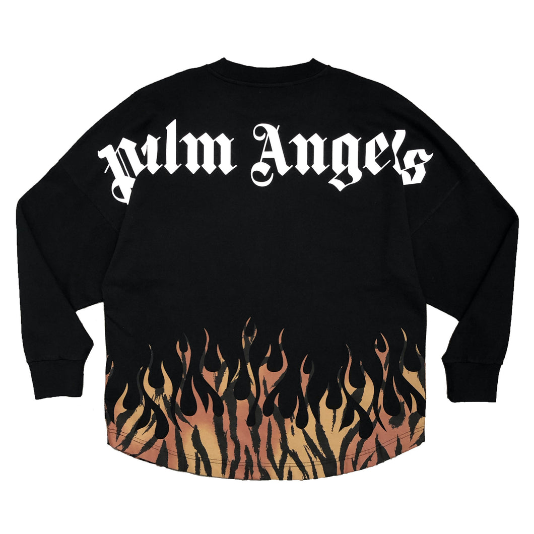 【Palm Angels】TIGER FLAMES LOGO OVER TEE LS BLACK ORANGE
