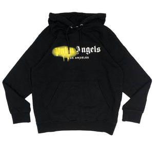 【Palm Angels】LA SPRAYED LOGO HOODY BLACK YELLOW