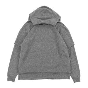 【STAMPD】DOUBLE LAYERED HOODIE / HEATHER GRY