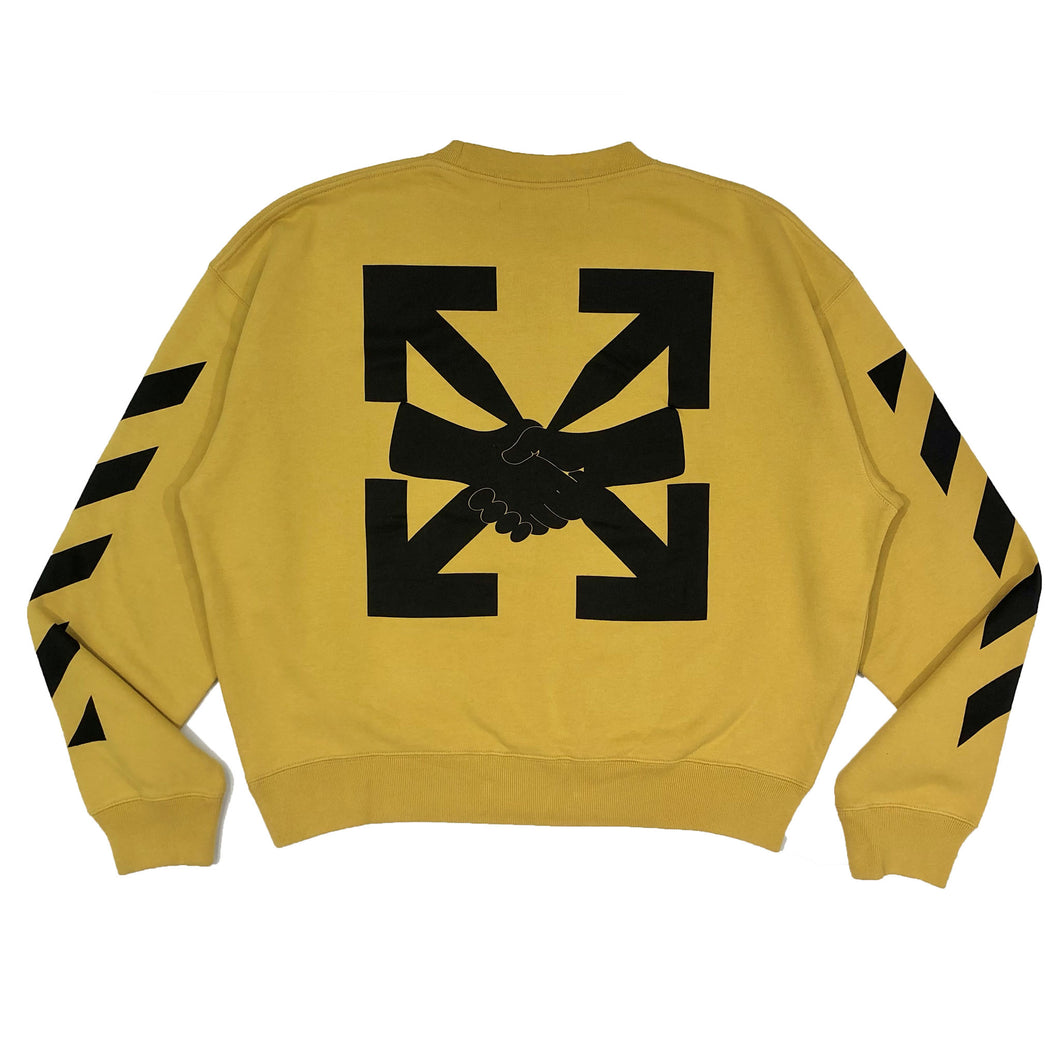 【Off-White】DIAG AGREEMENT OVER CREWNECK OCHER YELLOW BLACK