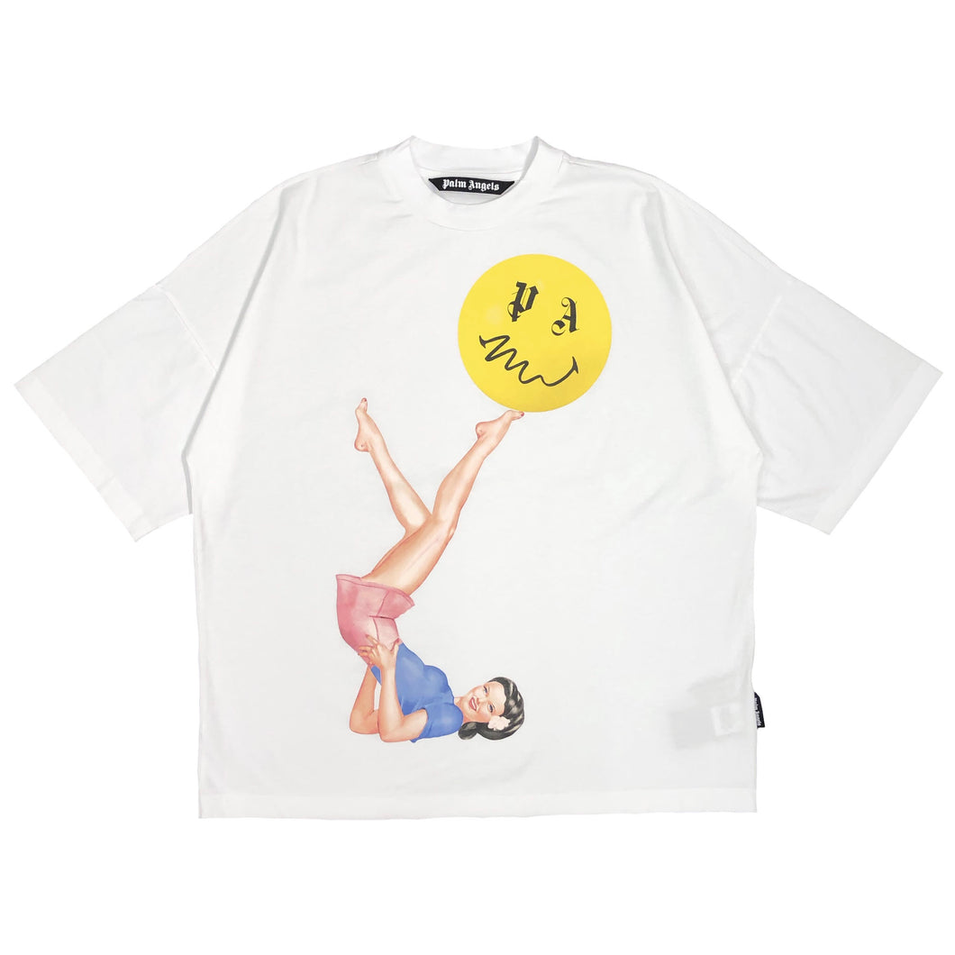 【Palm Angels】JUGGLER PIN UP LOOSE TEE WHITE PINK