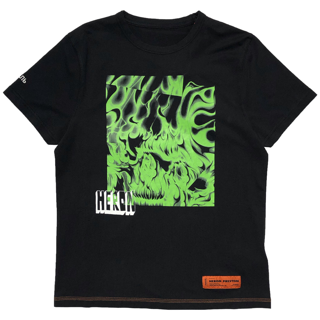 【HERON PRESTON】T-SHIRT REG BOX SKULL BLACK GREEN