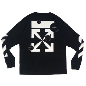 【Off-White】DIAG CUT HERE DOUBLE SLEEVE TEE BLACK WHITE
