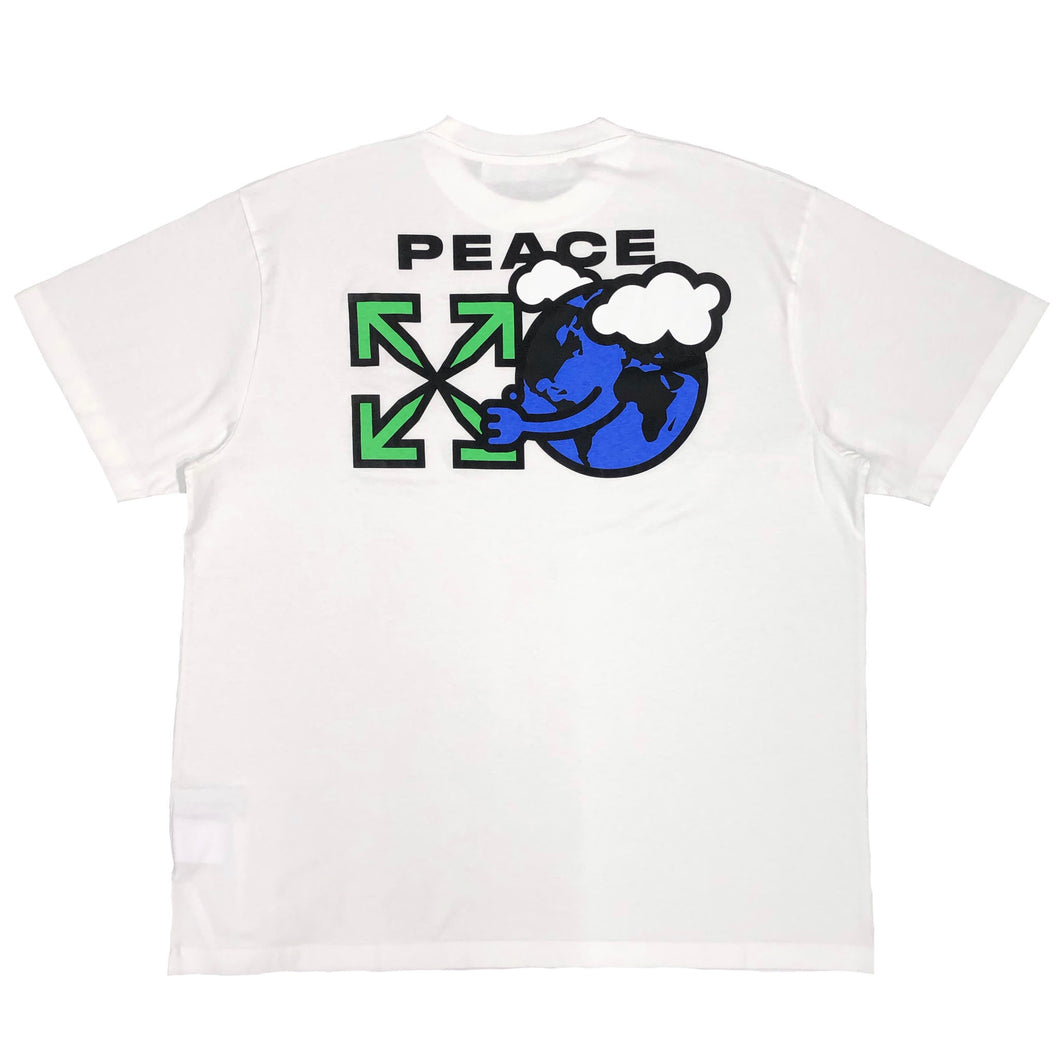 【Off-White】PEACE WORLDWIDE S/S OVER TEE WHITE GREEN