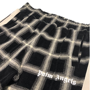 【Palm Angels】CHECK CHENILLE TRACK PANTS BLACK CAMEL