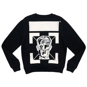 【Off-White】MASKED FACE SLIM CREWNECK BLACK WHITE