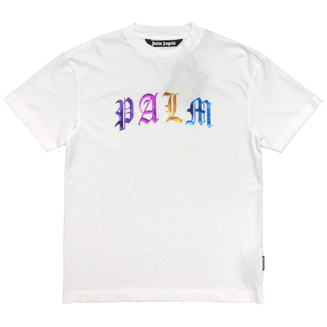 【Palm Angels】GOTHIC LOGO TEE WHITE MULTICOLOR