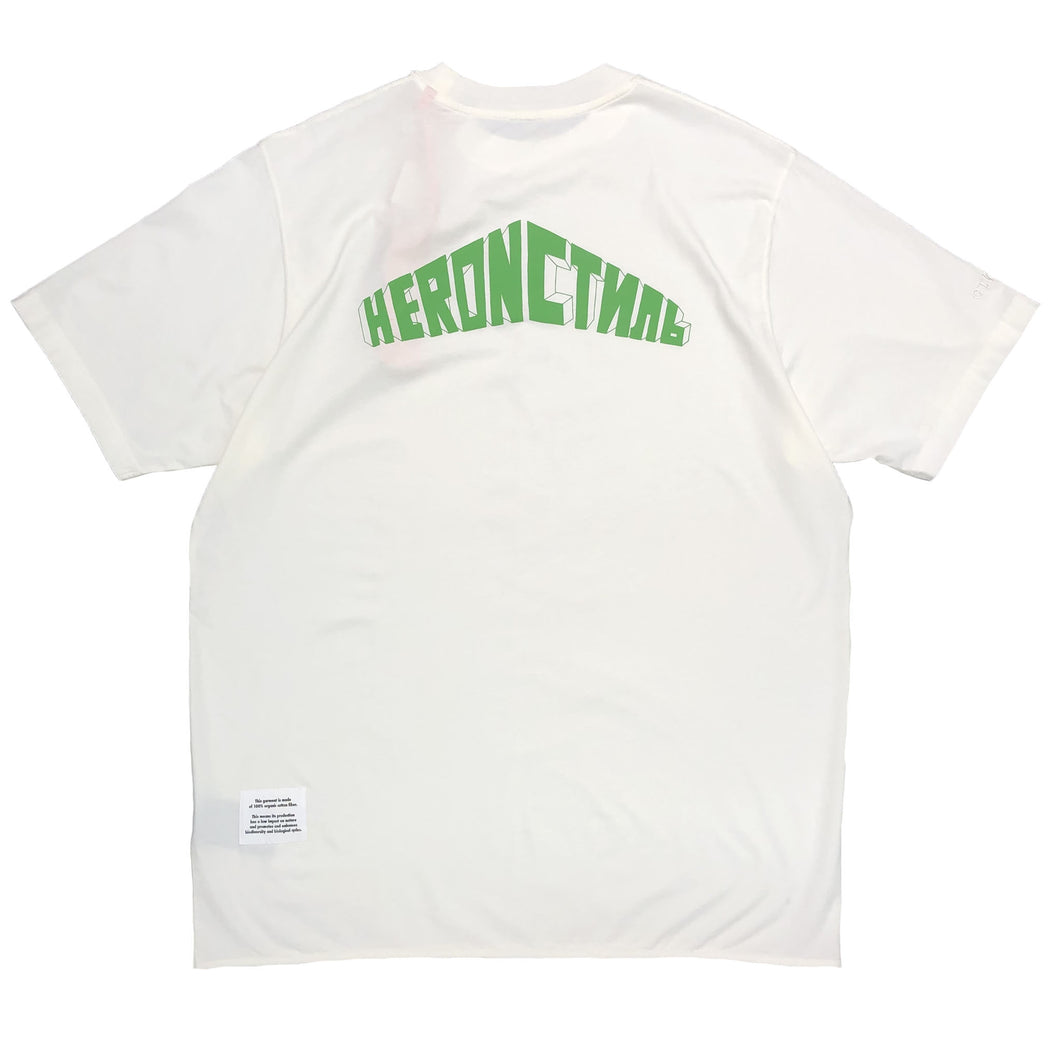 【HERON PRESTON】T-SHIRT OVER STYLE LOGO WHITE GREEN