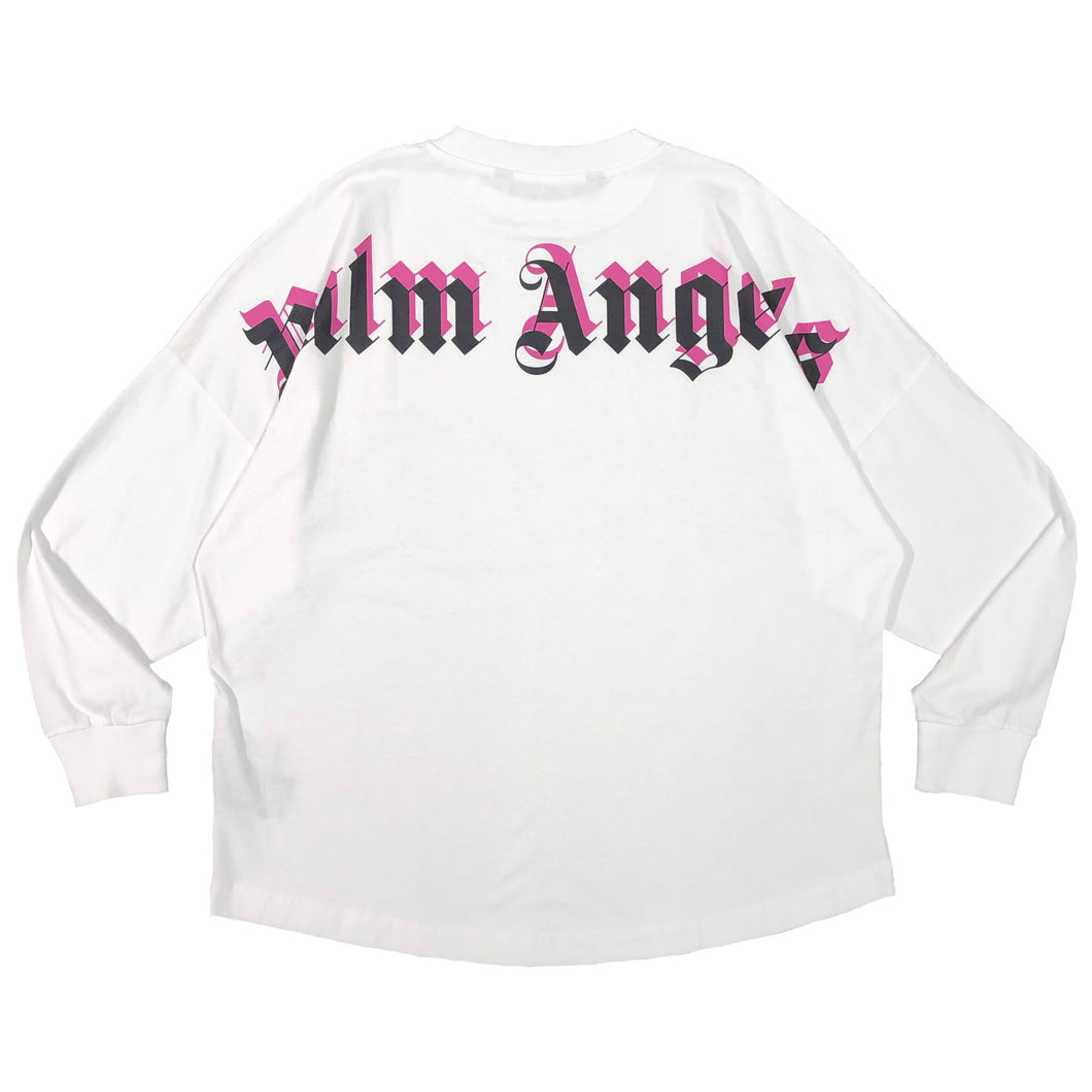 【Palm Angels】DOUBLE LOGO OVER TEE L/S WHITE FUCHSIA