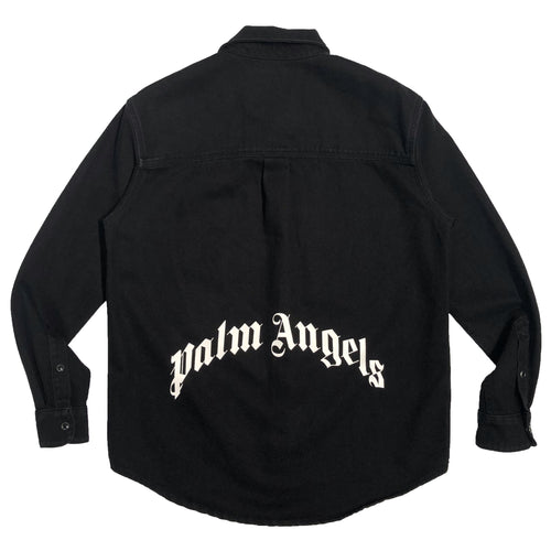 【Palm Angels】CURVED LOGO DENIM SHIRT BLACK WHITE