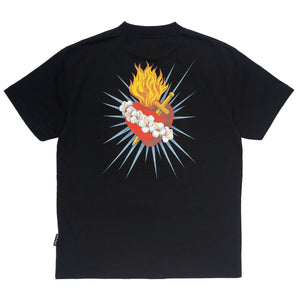 【Palm Angels】BACK SACRED HEART TEE BLACK MULTICOLOR
