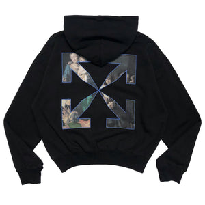 【Off-White】CARAVAG PAINTING OVER HOODIE BLACK BLACK