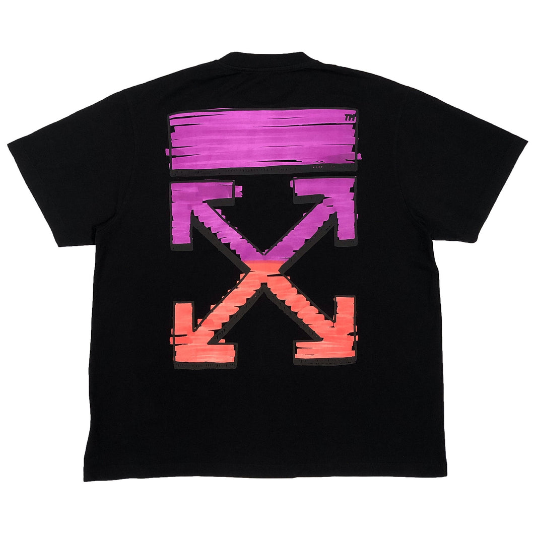 【Off-White】MARKER S/S OVER TEE BLACK FUCHSIA
