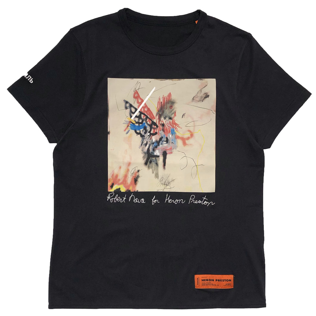 【HERON PRESTON】T-SHIRT REG ROBERT NAVA BLACK MULTICOLOR