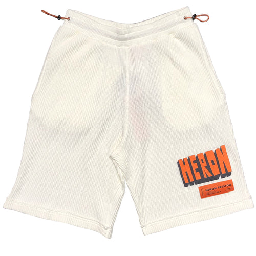【HERON PRESTON】WAFFLE SHORTS HERON BOLD WHITE ORANGE
