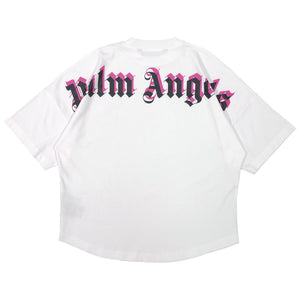 【Palm Angels】DOUBLE LOGO OVER TEE WHITE FUCHSIA