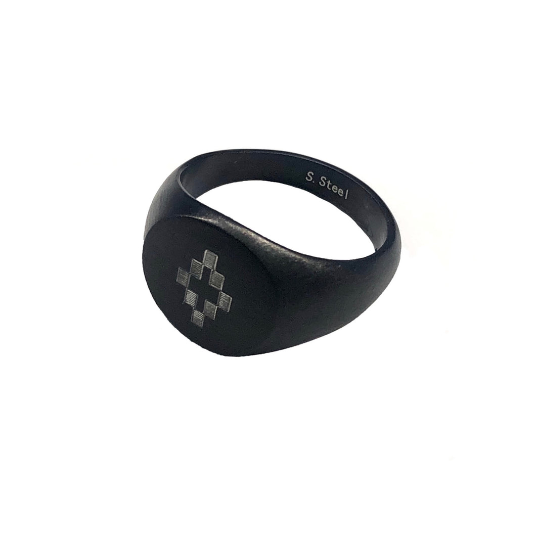 【MARCELO BURLON】BLACK COUNTY RING BLACK SILV