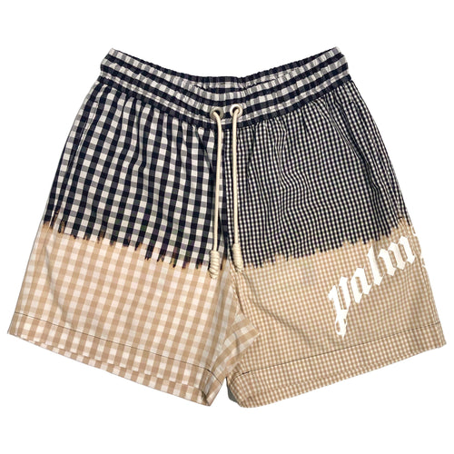【Palm Angels】OVERDYED VICHY LOGO SHORTS BEIGE WHITE