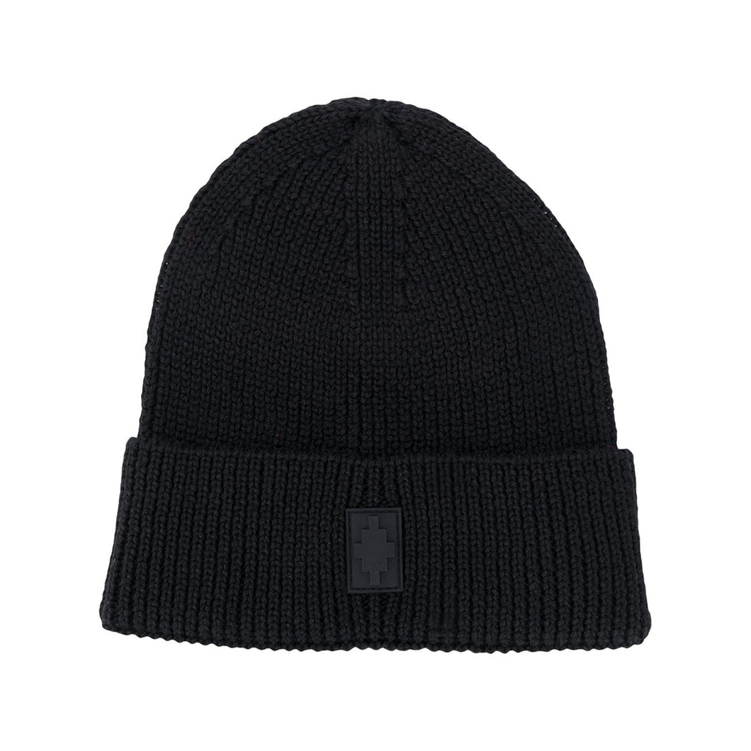 【MARCELO BURLON】CROSS PATCH BEANIE BLACK BLACK