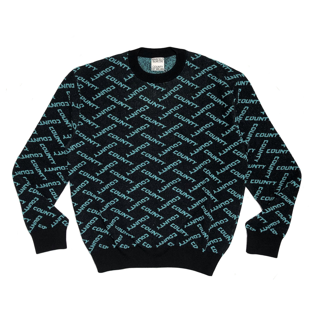 【MARCELO BURLON】ALL OVER COUNTY KNIT CRE BLACK TURQUOISE