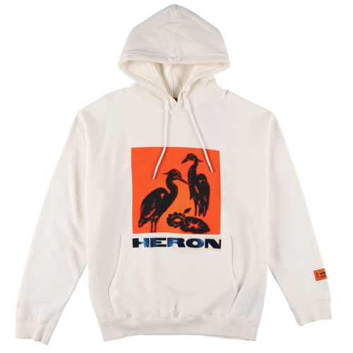 【HERON PRESTON】HOODIE RAGLAN NS HERONS TAPE OFF WHITE M