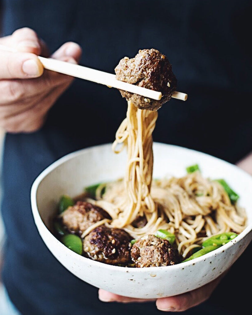 Meatballs with soba noodle soup