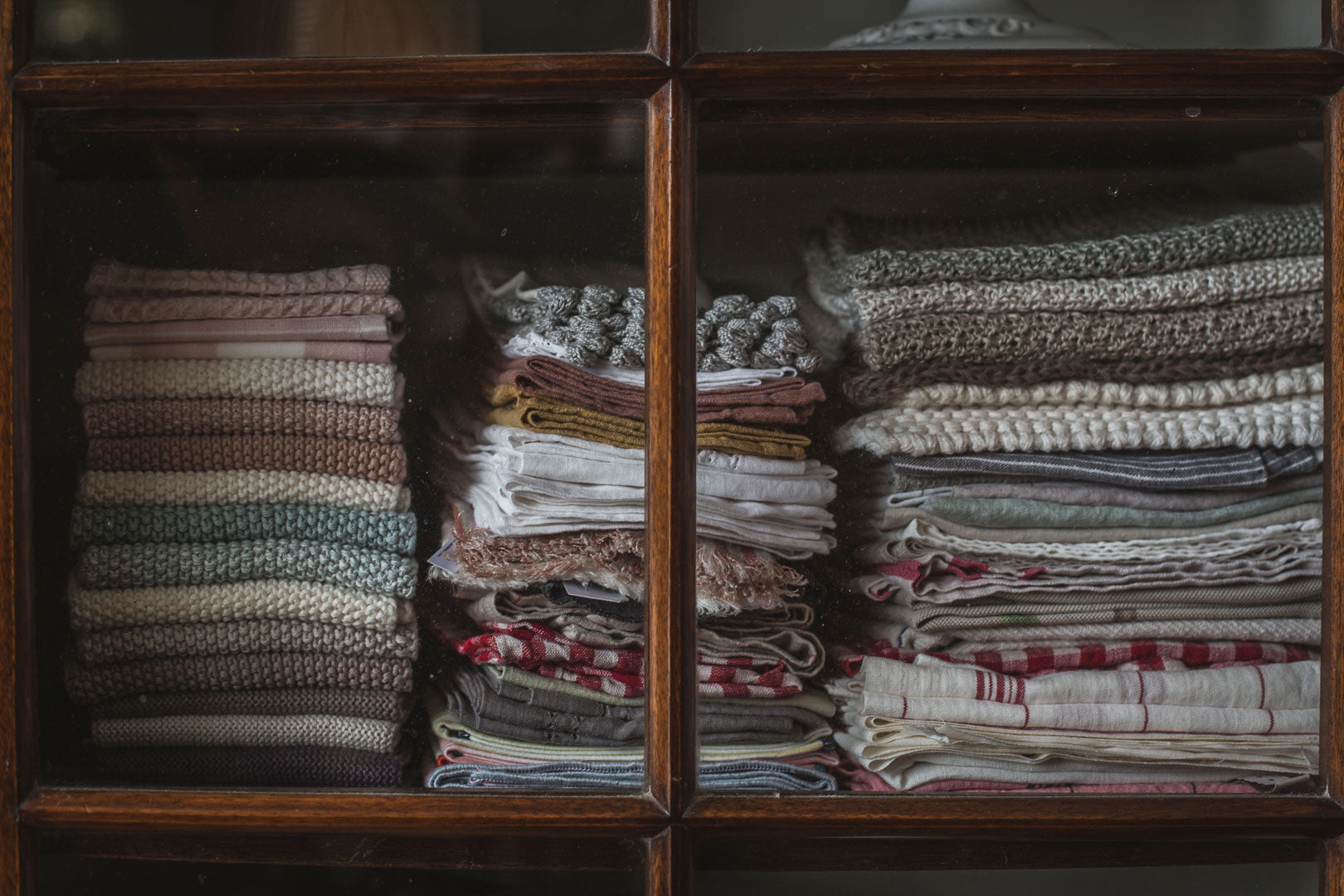 Stacks of linen in Sally Boyle's home