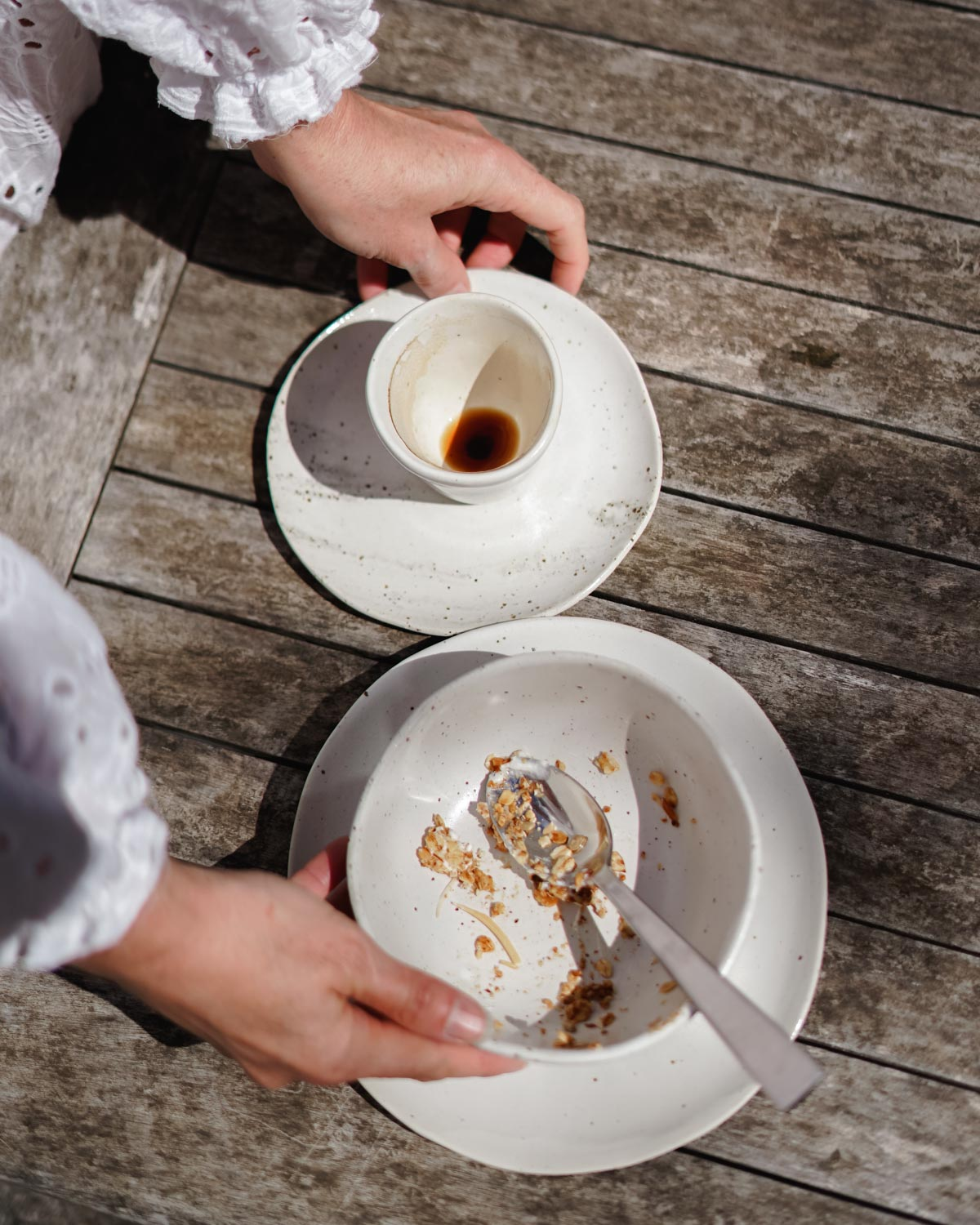 Handmade plates on a wooden table