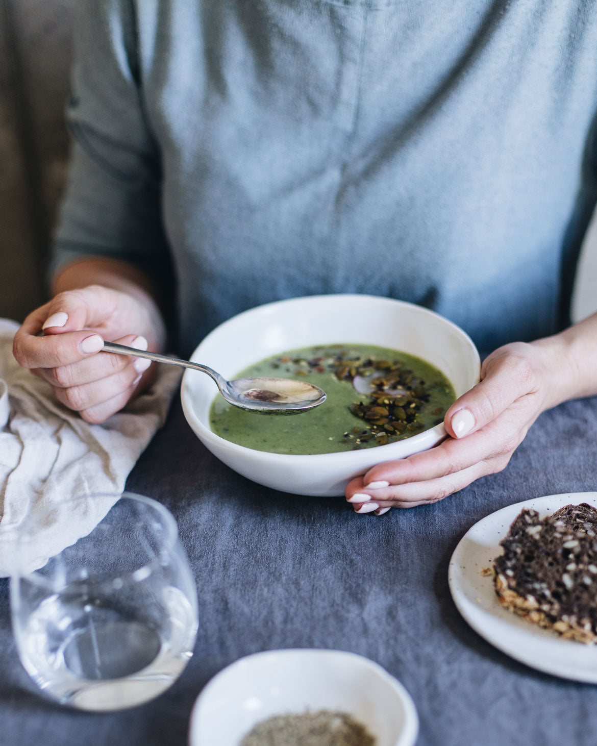 Pea and mint soup served in a WInterwares handmade ceramic bowl