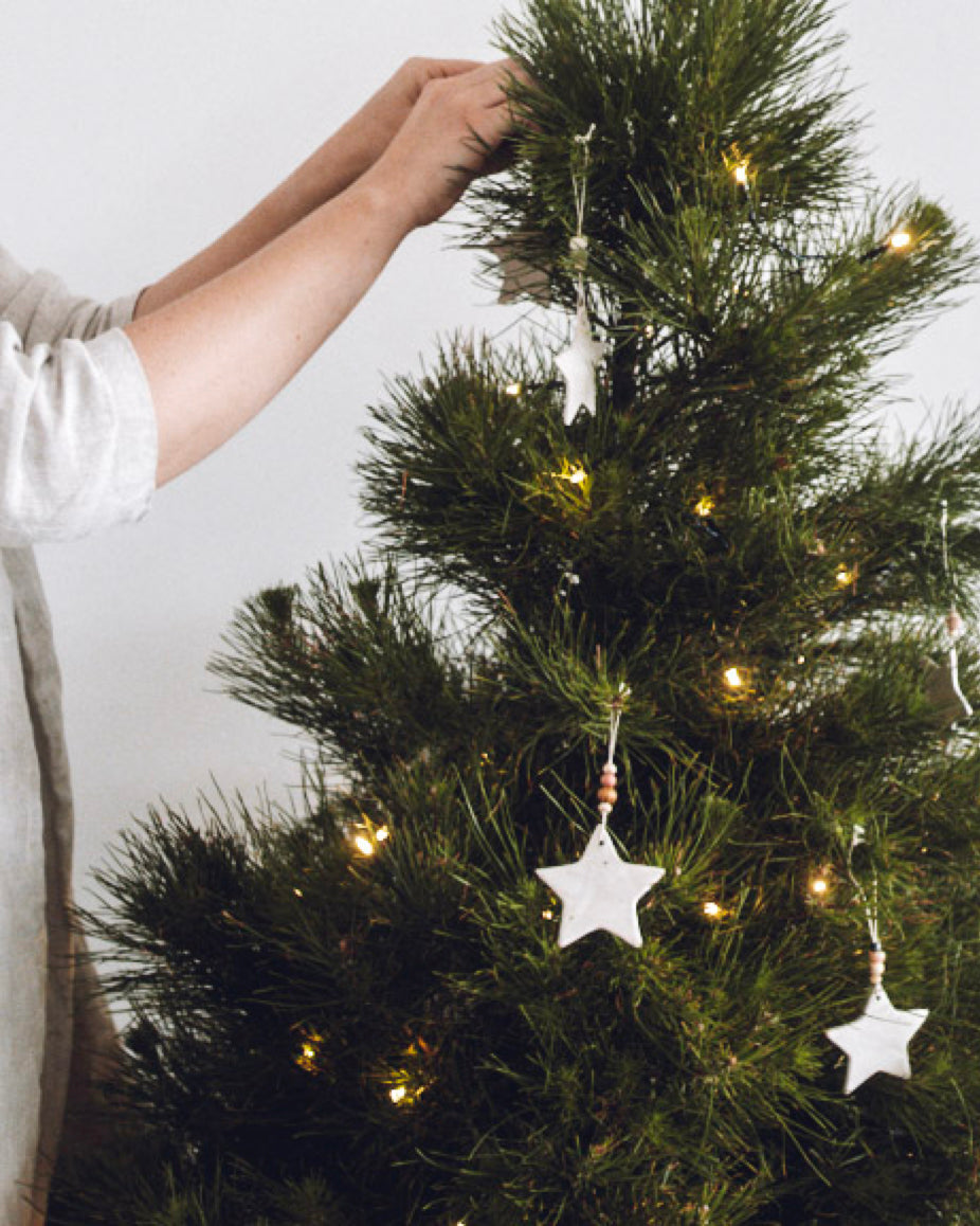 Decorating the Christmas tree with Winterwares stars