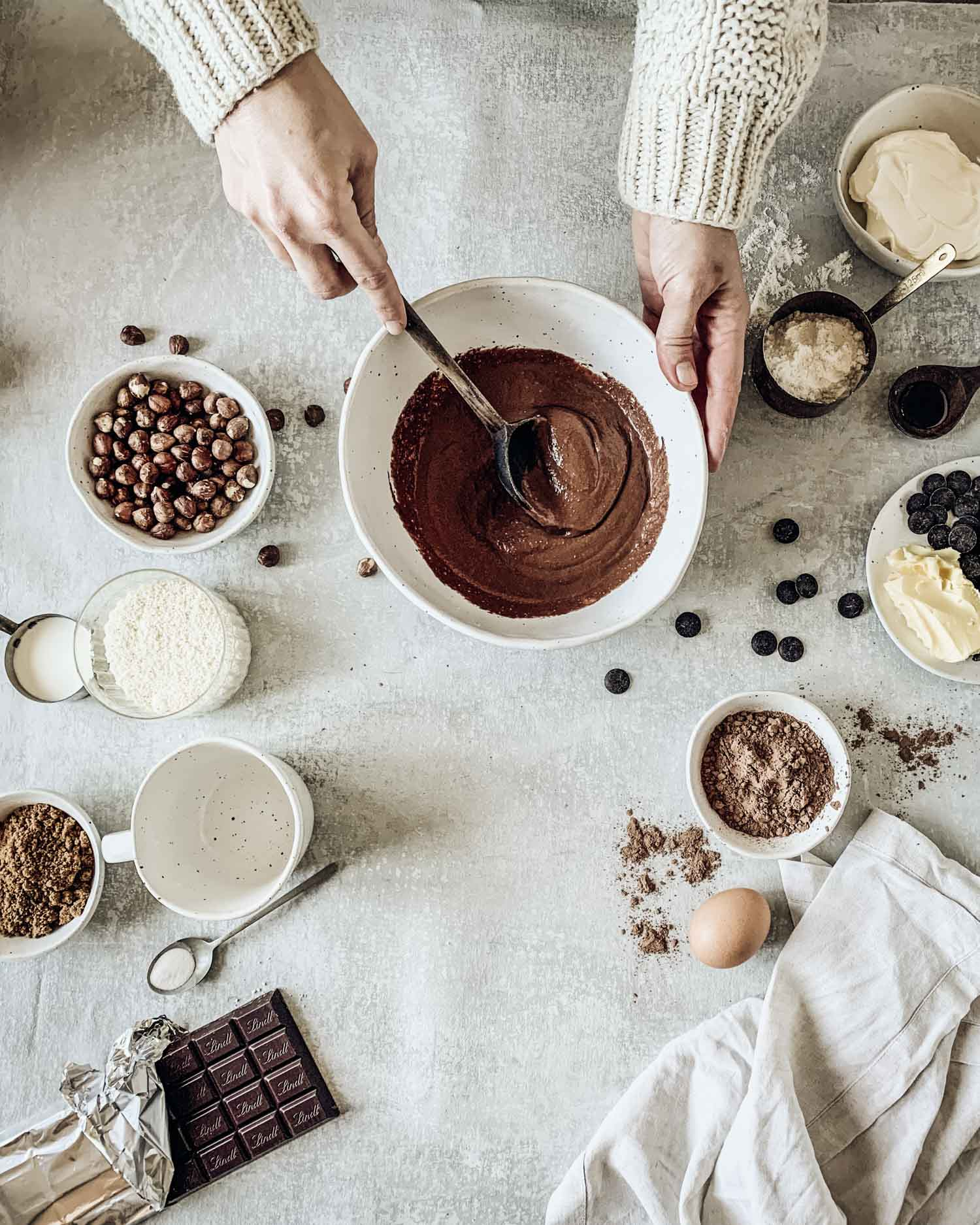 Chocolate pudding batter being mixed in Winterwares bowl