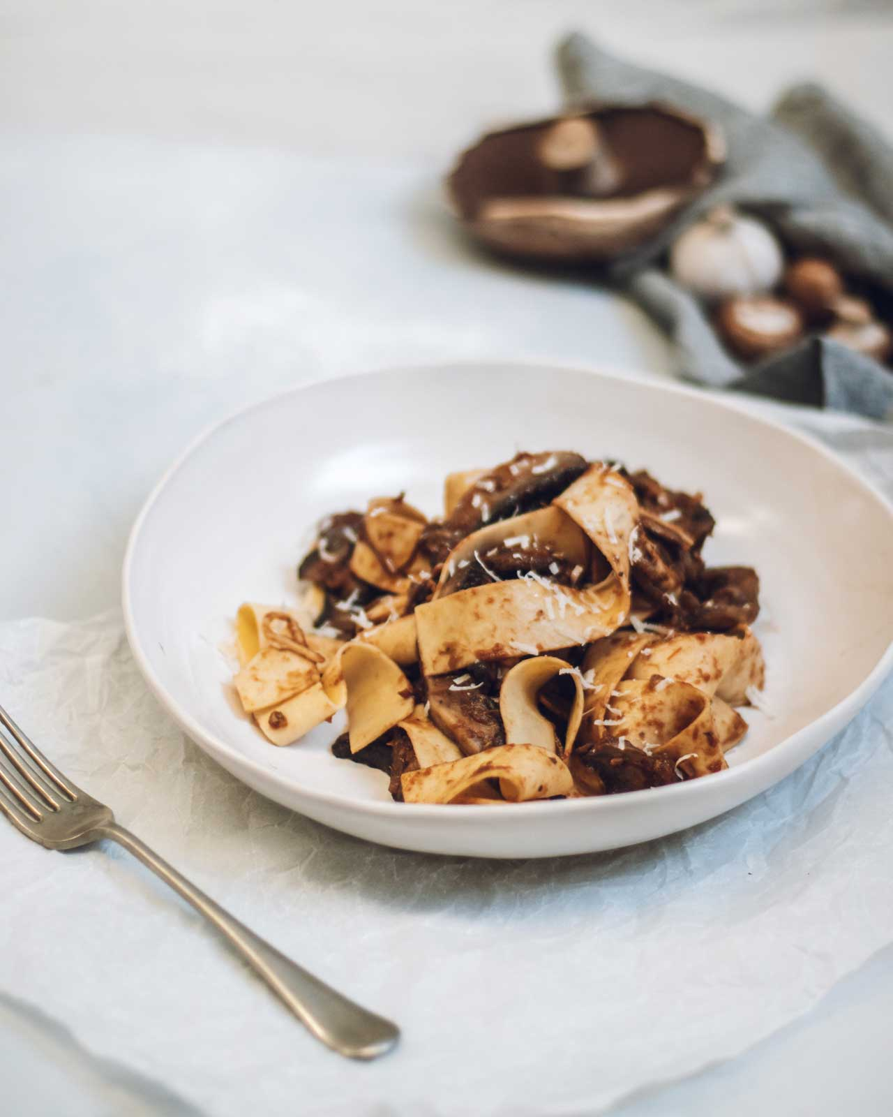 pappardelle pasta with portobello mushroom served in a handmade Winterwares ceramic bowl