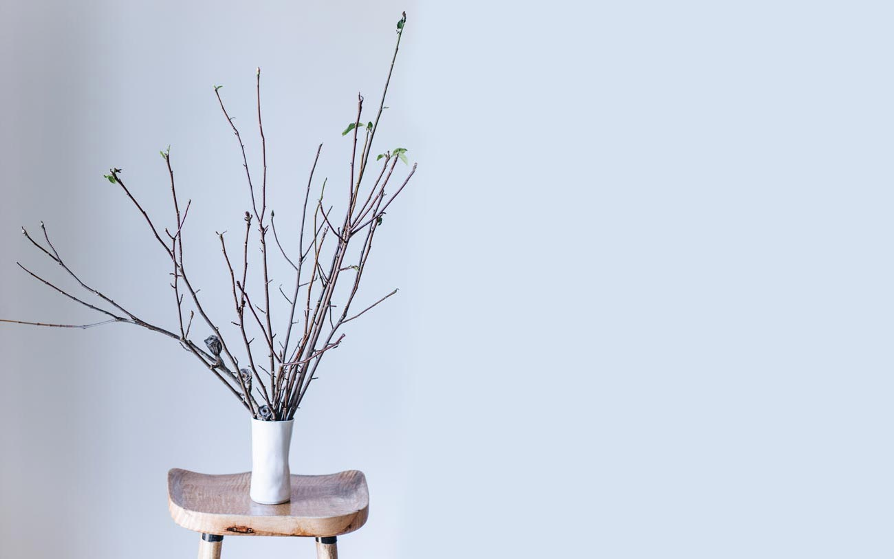 Winterwares vase perched on stool holding branches