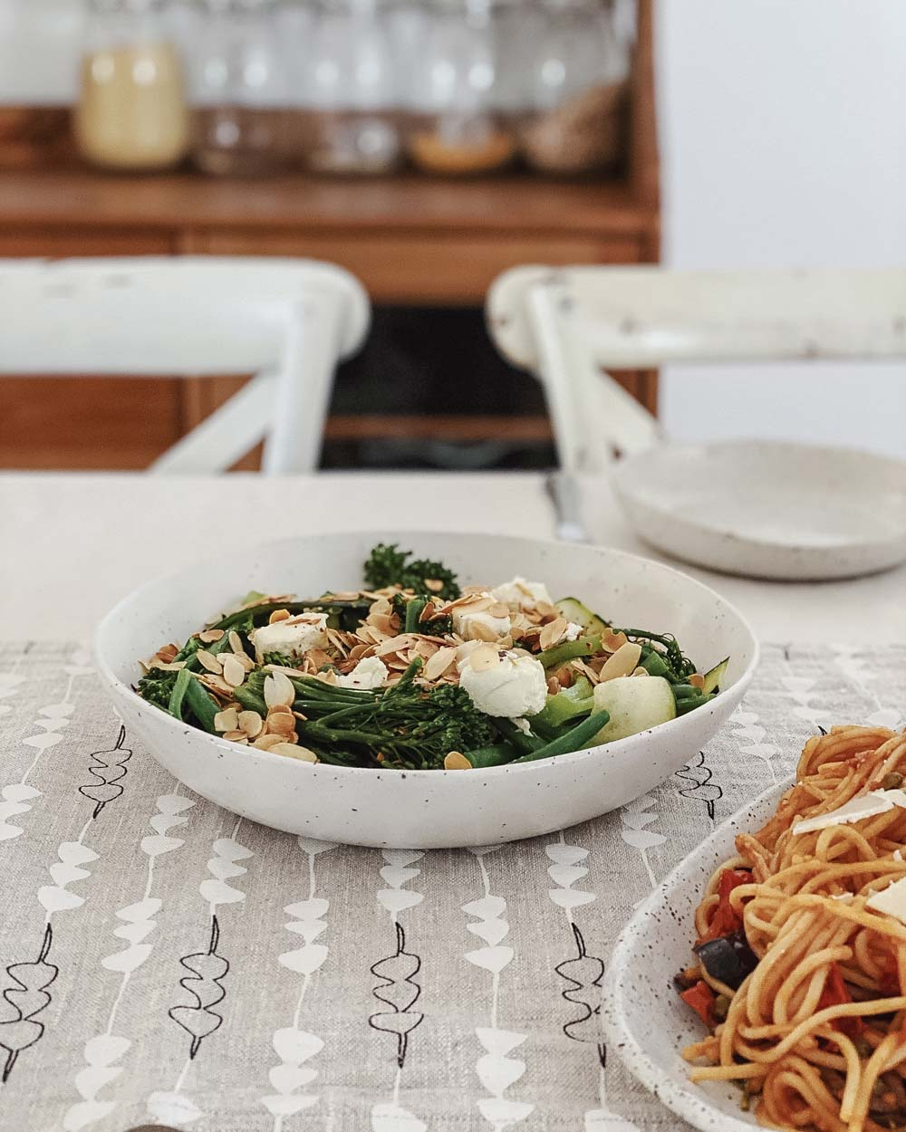 Brocolli and almond salad served in a winterwares ceramic bowl
