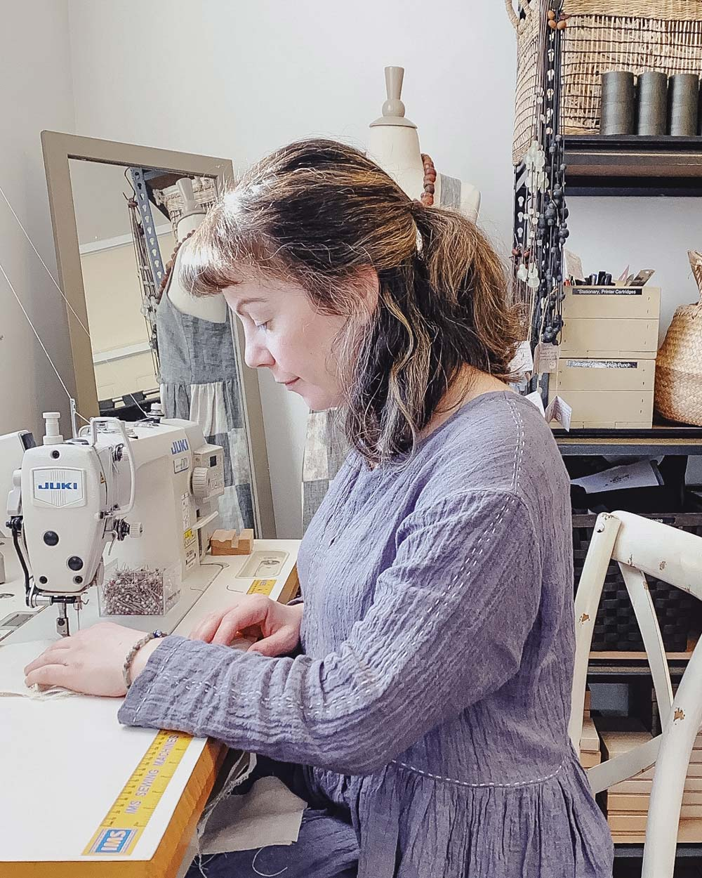 Eva Cassis, slow fashion designer in her studio
