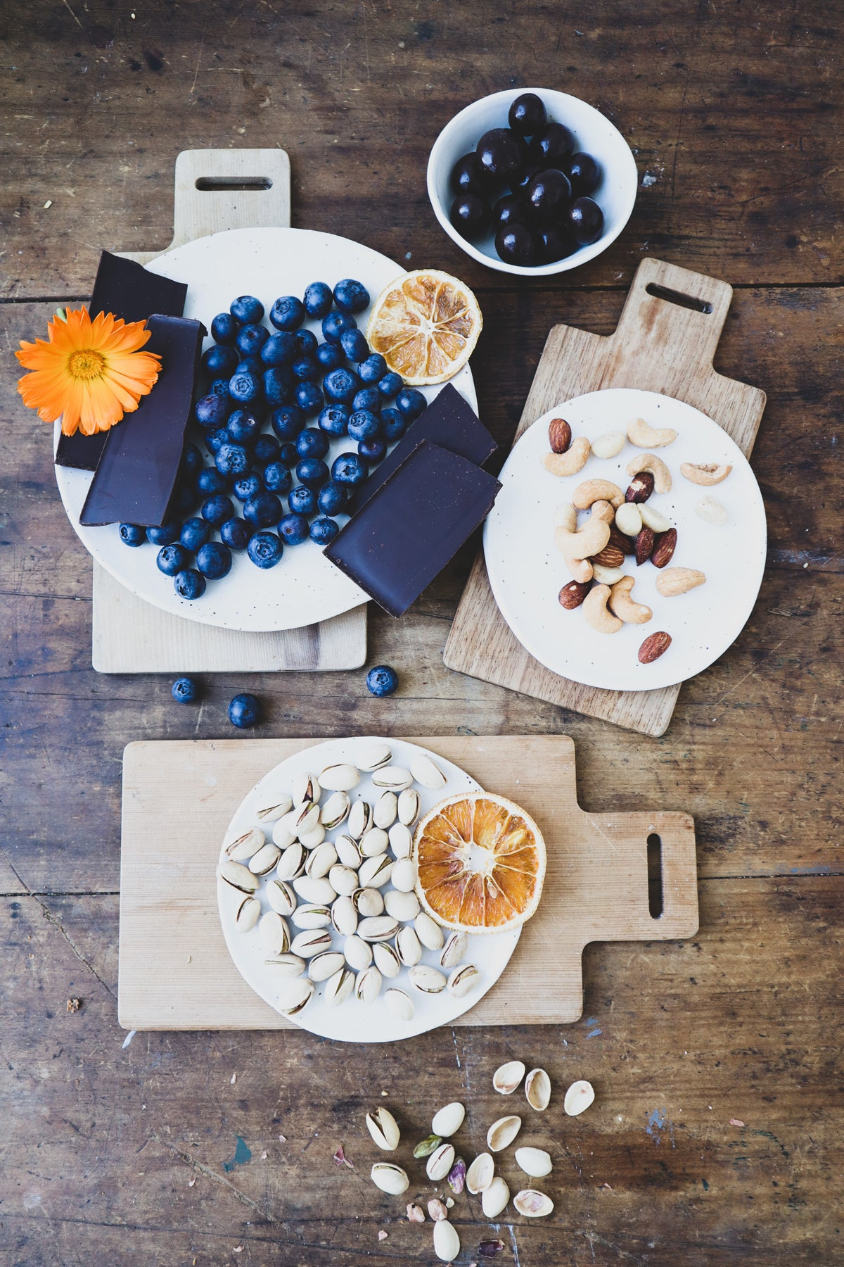 Jason Grant styles a grazing board with Winterwares ceramics and blueberries