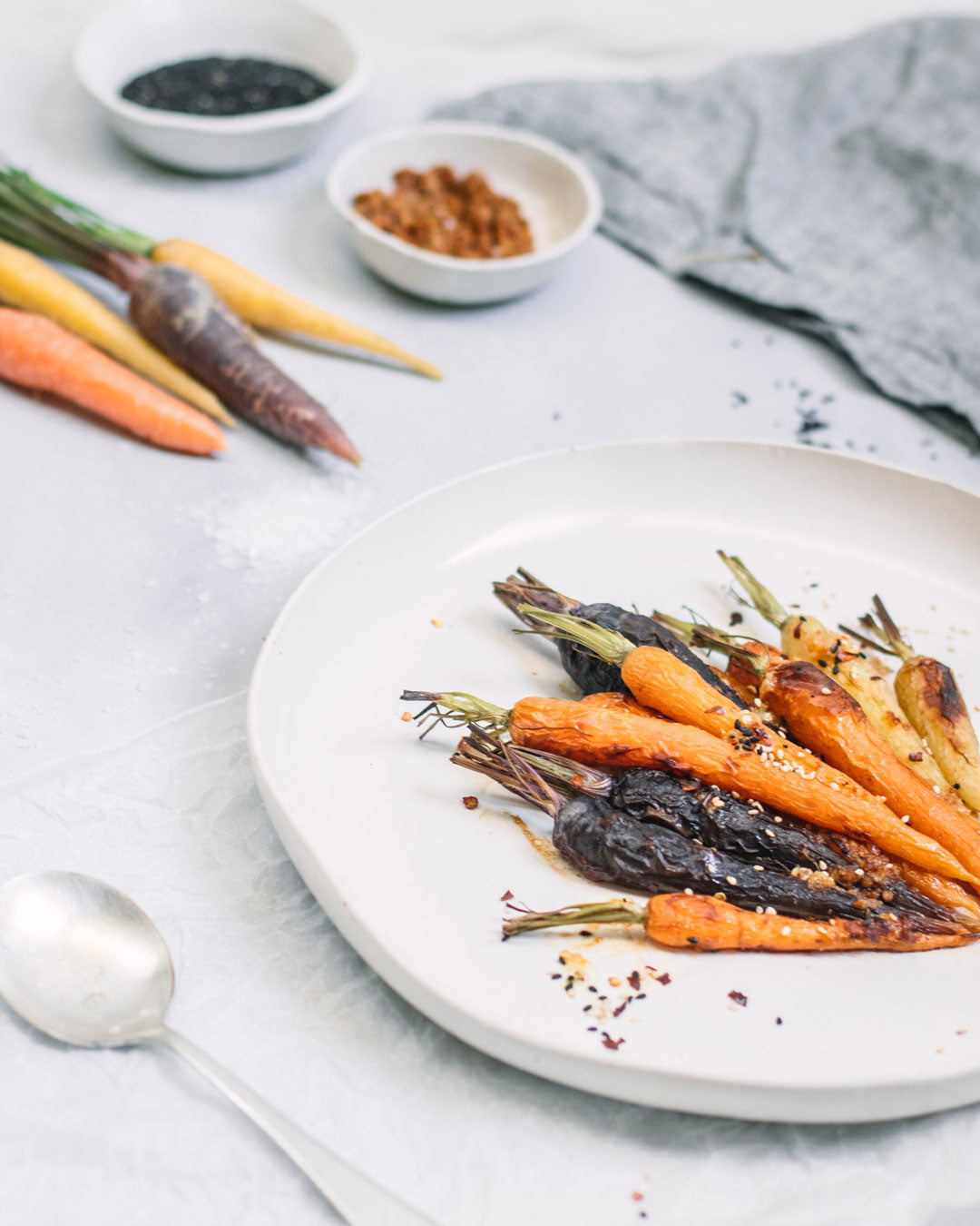 A platter of roasted heirloom carrots