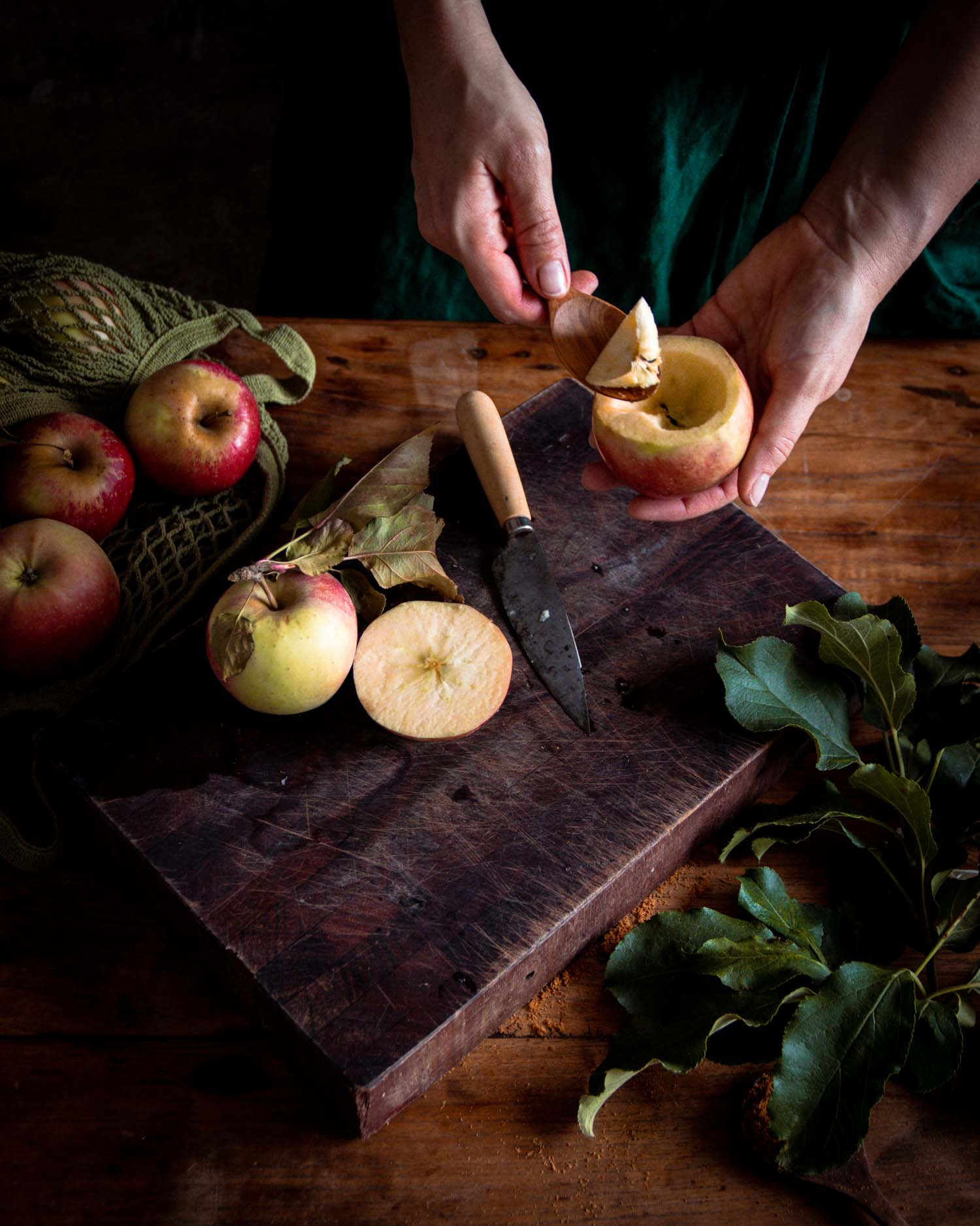Coring apples to fill with granola