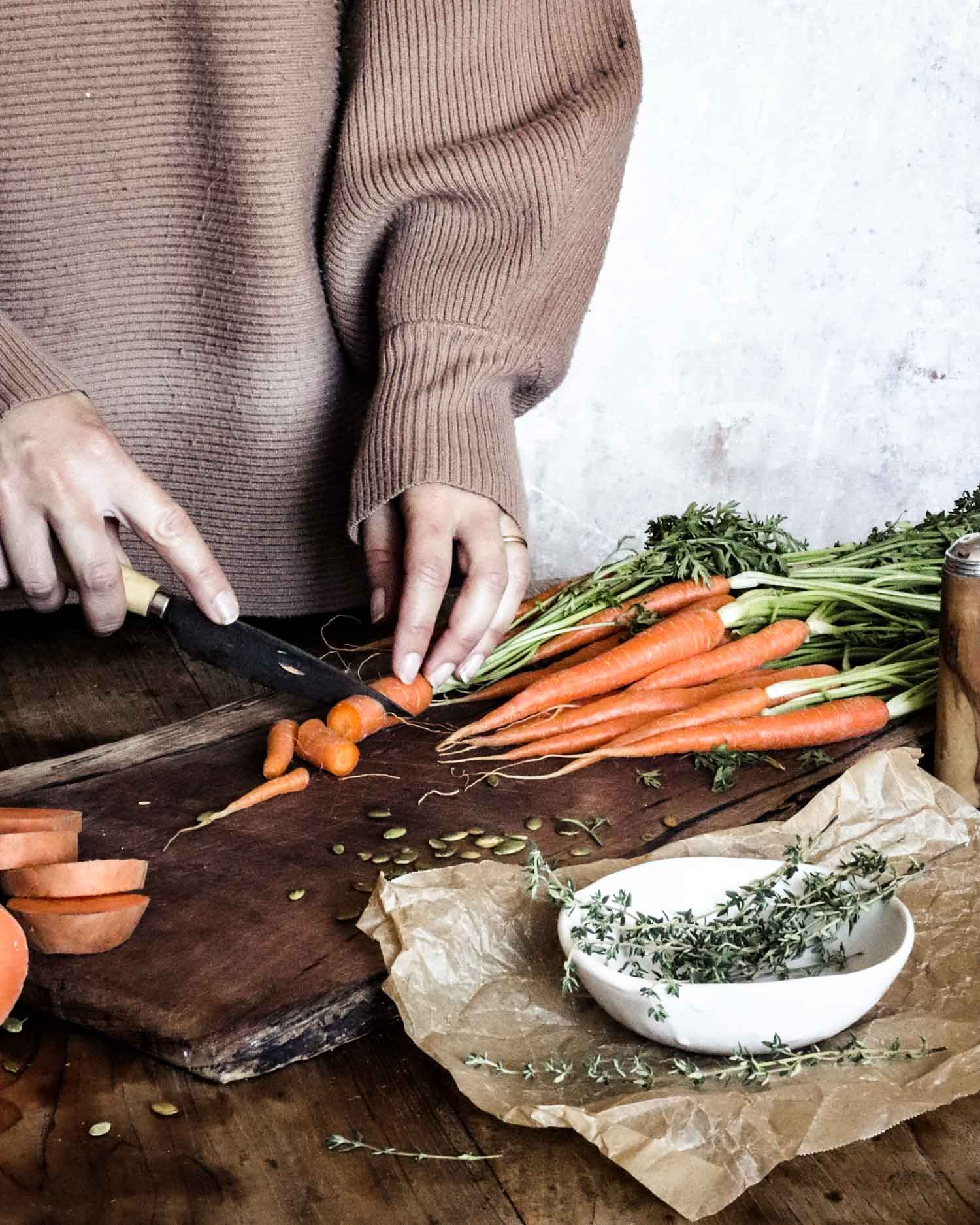 Chopping carrots for soup