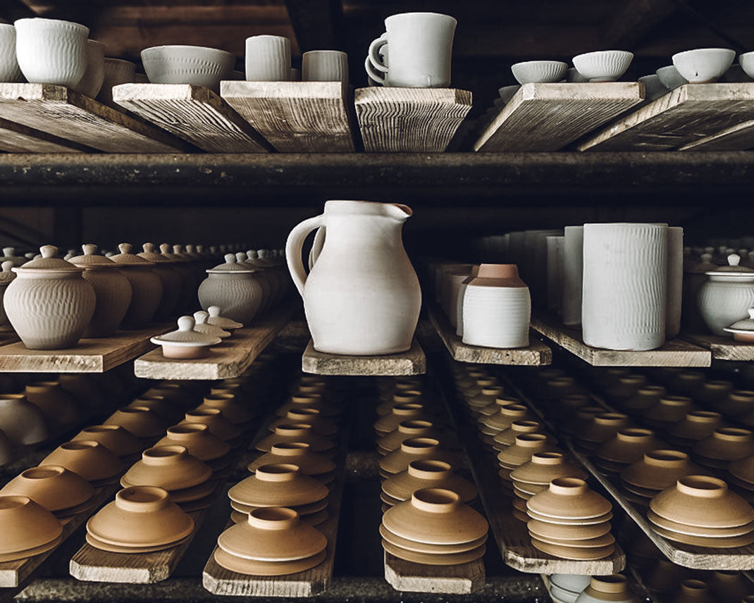 Rows of finished pots and bowls at the Onta pottery village in Japan