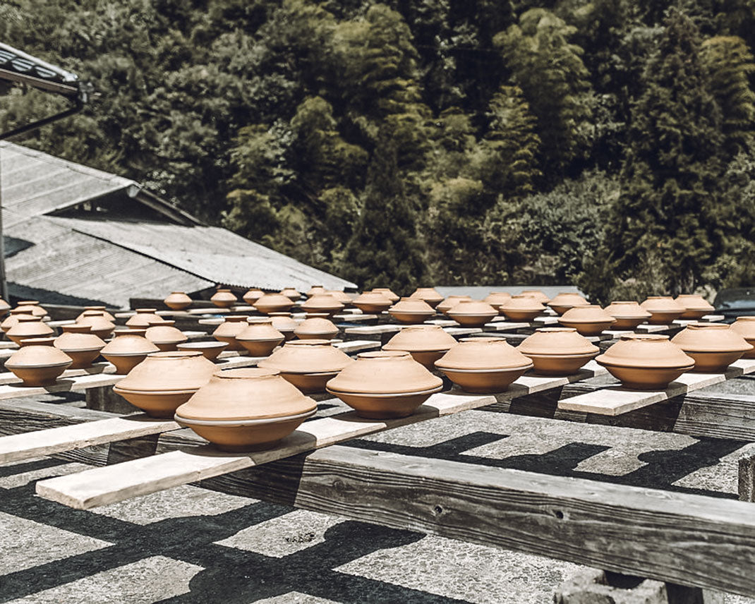 Rows of pots drying in the sun at the Onta pottery village in Japan