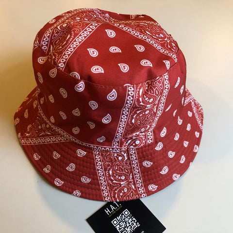 Red bandanna bucket hat (reversible)