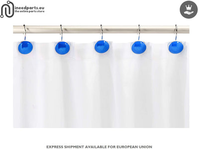Shower Curtain Hooks Button Blue Design