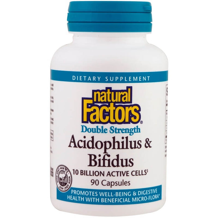 Natural Factors - Acidophilus & Bifidus, Double Strength, 10 Billion Active Cells, 90 Capsules
