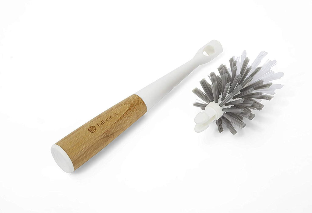 Full Circle - Clean Reach Bottle Brush with Replaceable Bristle Brush Head, Bamboo Handle, White