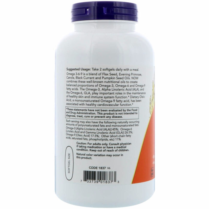 Now Foods - Omega 3-6-9, 1000 mg, 250 Softgels