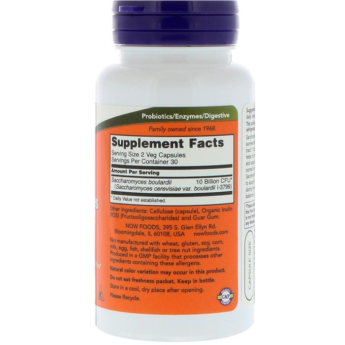 Now Foods - Saccharomyces Boulardii, Gastrointestinal Support, 60 Veg Capsules
