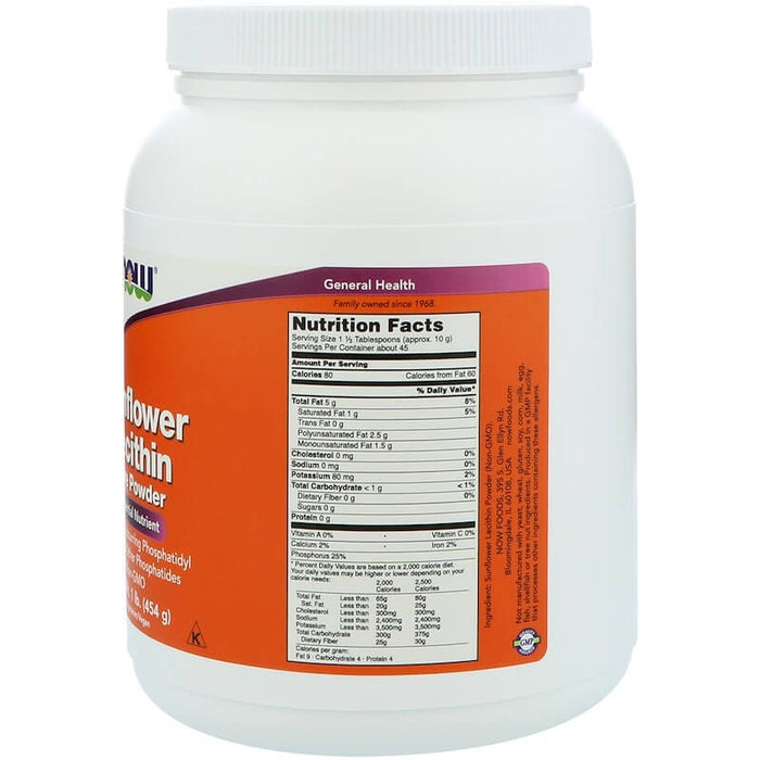 Now Foods - Sunflower Lecithin, Pure Powder, 1 lb (454 g)