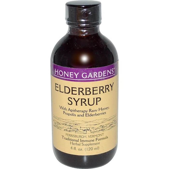 Honey Gardens - Elderberry Syrup with Apitherapy Raw Honey, Propolis and Elderberries, 4 fl oz (120 ml)